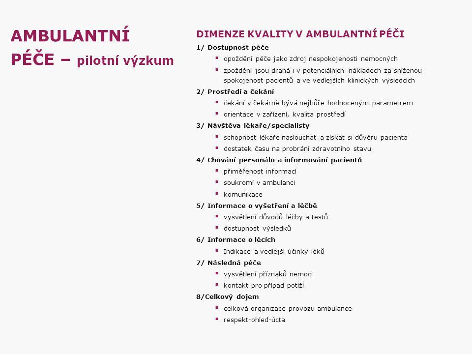 AMBULANTNÍ PÉČE – pilotní výzkum DIMENZE KVALITY V AMBULANTNÍ PÉČI 1/ Dostupnost péče  opoždění péče jako zdroj nespokojenosti nemocných  zpoždění j