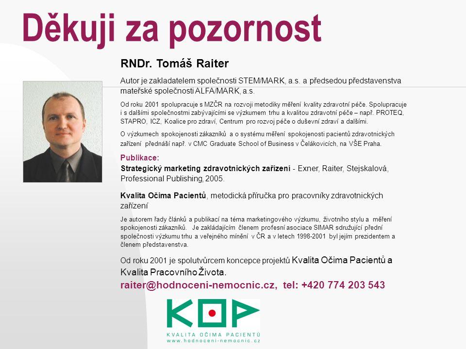Děkuji za pozornost RNDr. Tomáš Raiter Autor je zakladatelem společnosti STEM/MARK, a.s. a předsedou představenstva mateřské společnosti ALFA/MARK, a.