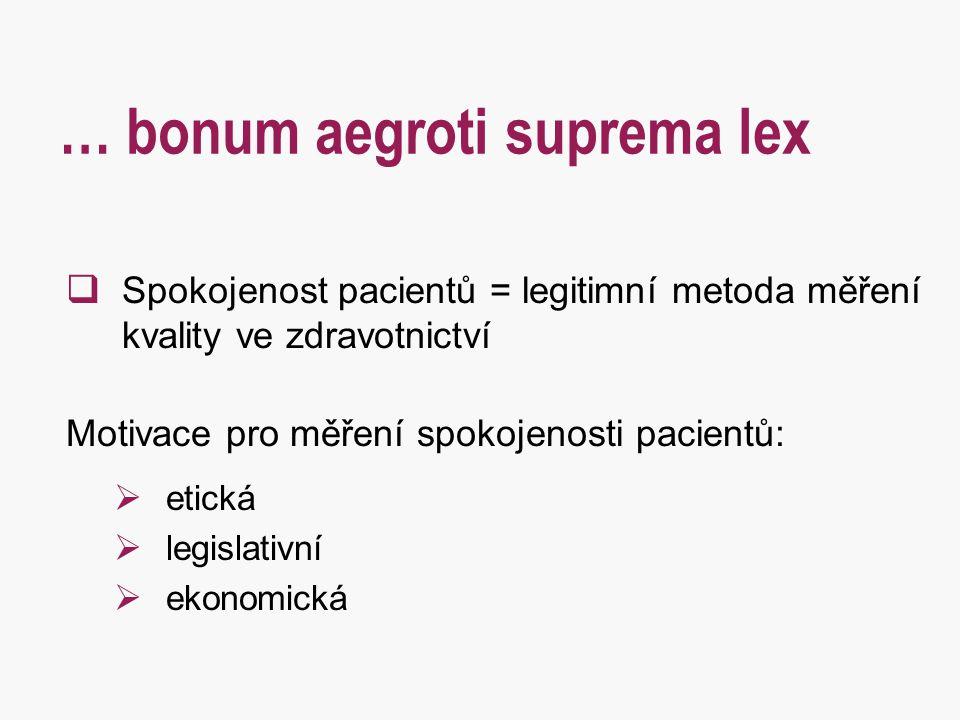 … bonum aegroti suprema lex  Spokojenost pacientů = legitimní metoda měření kvality ve zdravotnictví Motivace pro měření spokojenosti pacientů:  eti