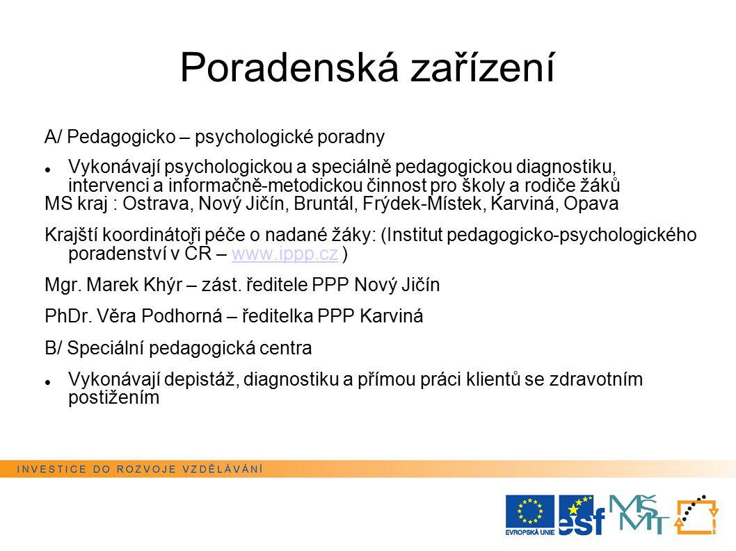 Poradenská zařízení A/ Pedagogicko – psychologické poradny Vykonávají psychologickou a speciálně pedagogickou diagnostiku, intervenci a informačně-met