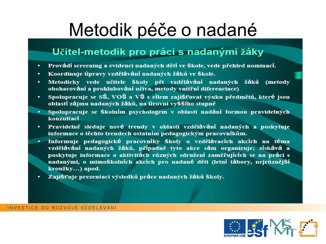 Metodik péče o nadané Tato prezentace je spolufinancována Evropským sociálním fondem a státním rozpočtem České republiky.