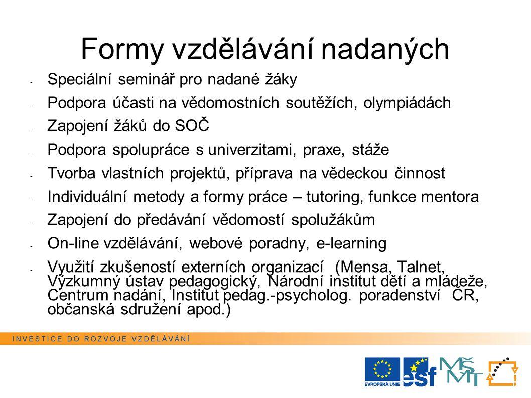Formy vzdělávání nadaných - Speciální seminář pro nadané žáky - Podpora účasti na vědomostních soutěžích, olympiádách - Zapojení žáků do SOČ - Podpora