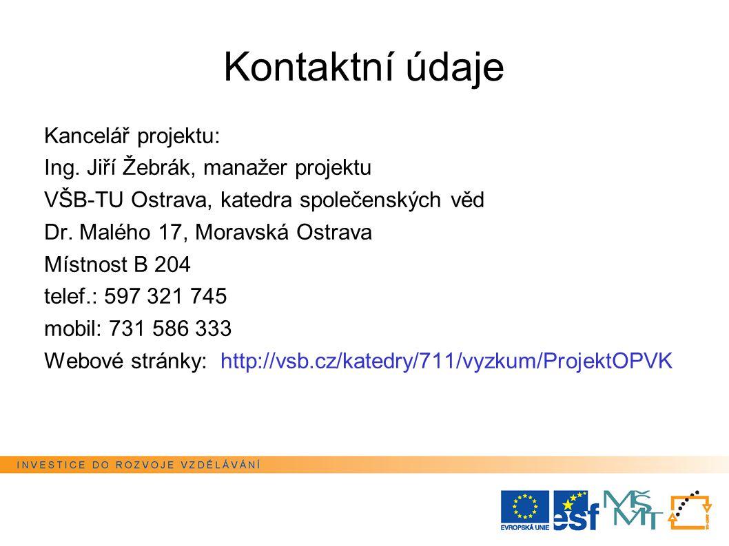 Kontaktní údaje Kancelář projektu: Ing.