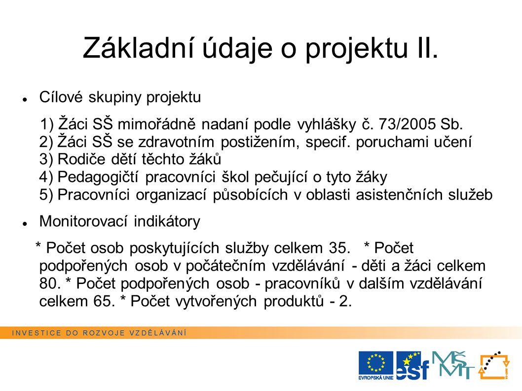 Základní údaje o projektu II. Cílové skupiny projektu 1) Žáci SŠ mimořádně nadaní podle vyhlášky č.