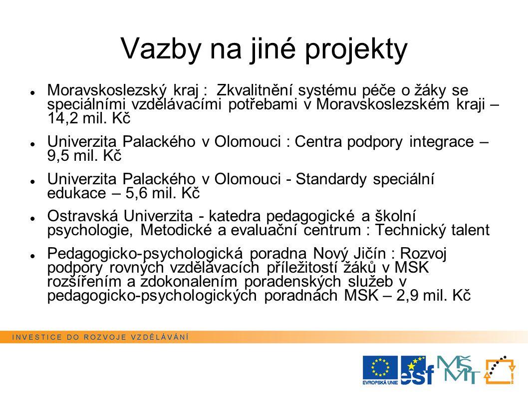 Vazby na jiné projekty Moravskoslezský kraj : Zkvalitnění systému péče o žáky se speciálními vzdělávacími potřebami v Moravskoslezském kraji – 14,2 mil.