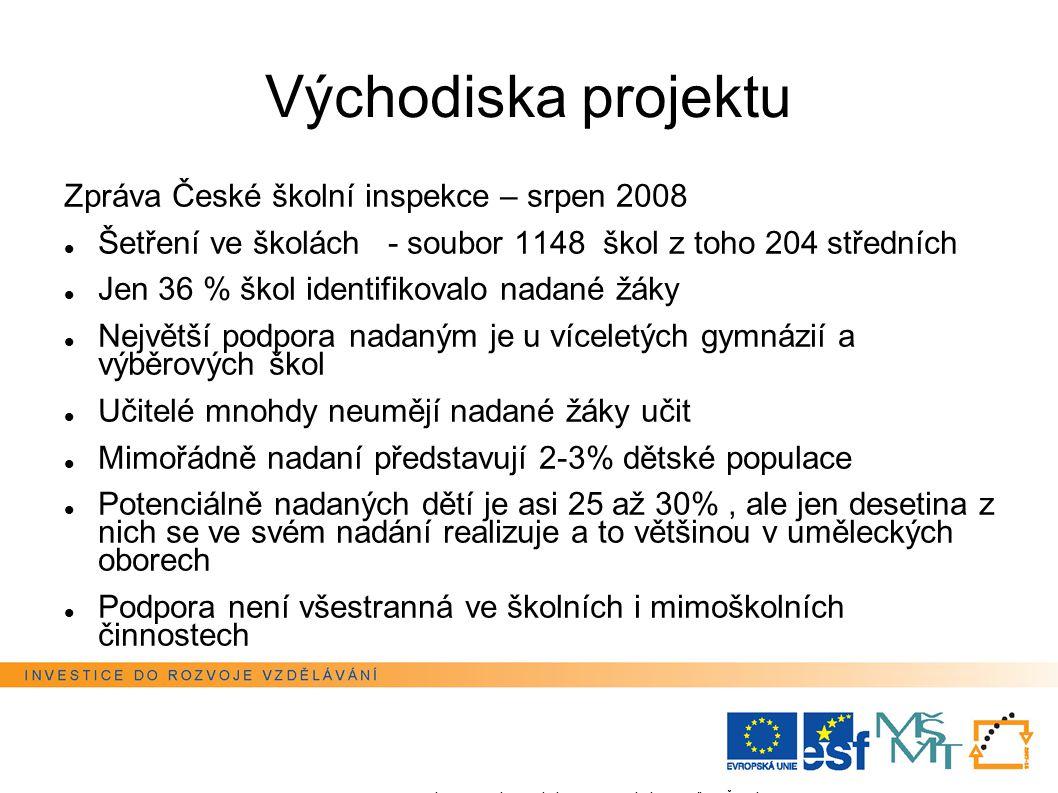 Východiska projektu Zpráva České školní inspekce – srpen 2008 Šetření ve školách - soubor 1148 škol z toho 204 středních Jen 36 % škol identifikovalo