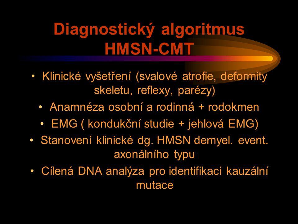 Diagnostický algoritmus HMSN-CMT Klinické vyšetření (svalové atrofie, deformity skeletu, reflexy, parézy) Anamnéza osobní a rodinná + rodokmen EMG ( k