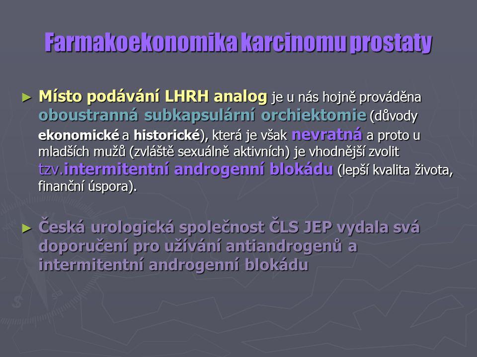 Farmakoekonomika karcinomu prostaty ► Místo podávání LHRH analog je u nás hojně prováděna oboustranná subkapsulární orchiektomie (důvody ekonomické a historické), která je však nevratná a proto u mladších mužů (zvláště sexuálně aktivních) je vhodnější zvolit tzv.intermitentní androgenní blokádu (lepší kvalita života, finanční úspora).