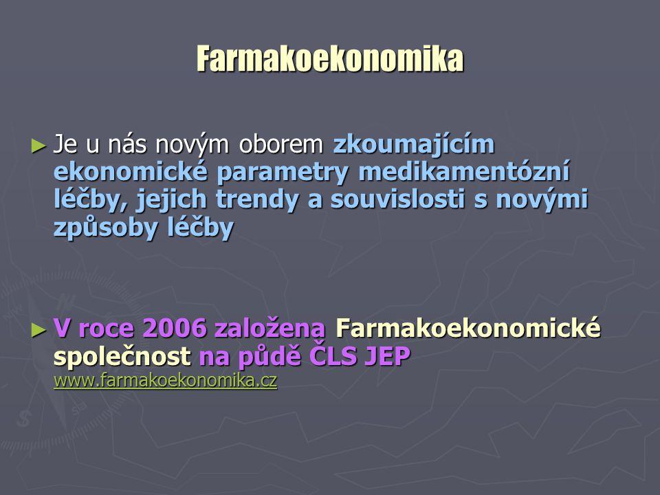 Farmakoekonomika ► Je u nás novým oborem zkoumajícím ekonomické parametry medikamentózní léčby, jejich trendy a souvislosti s novými způsoby léčby ► V roce 2006 založena Farmakoekonomické společnost na půdě ČLS JEP www.farmakoekonomika.cz www.farmakoekonomika.cz