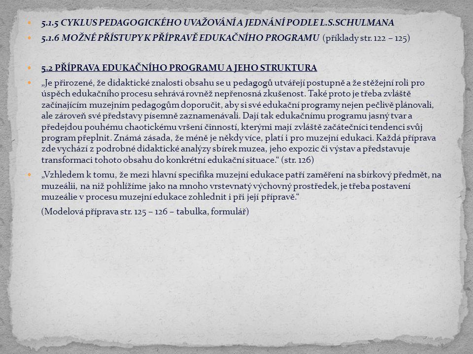 5.1.5 CYKLUS PEDAGOGICKÉHO UVAŽOVÁNÍ A JEDNÁNÍ PODLE L.S.SCHULMANA 5.1.6 MOŽNÉ PŘÍSTUPY K PŘÍPRAVĚ EDUKAČNÍHO PROGRAMU (příklady str. 122 – 125) 5.2 P