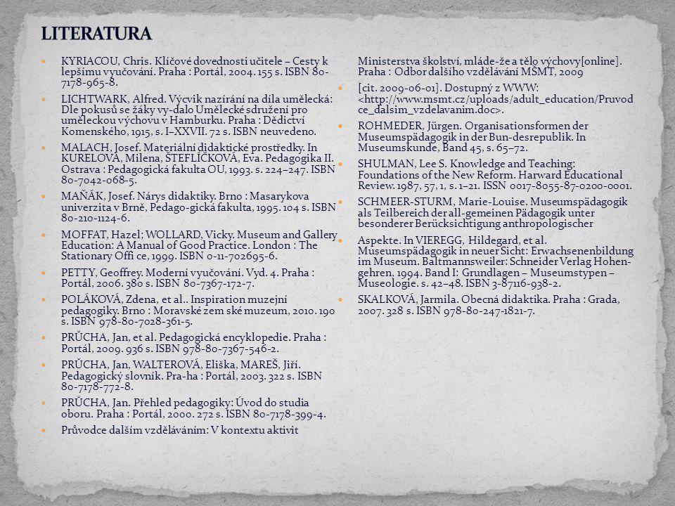 KYRIACOU, Chris. Klíčové dovednosti učitele – Cesty k lepšímu vyučování. Praha : Portál, 2004. 155 s. ISBN 80- 7178-965-8. LICHTWARK, Alfred. Výcvik n