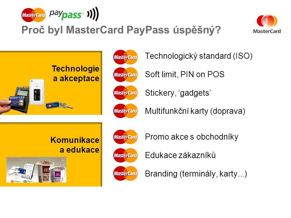 Technologický standard (ISO) Soft limit, PIN on POS Stickery, 'gadgets' Multifunkční karty (doprava) Proč byl MasterCard PayPass úspěšný.