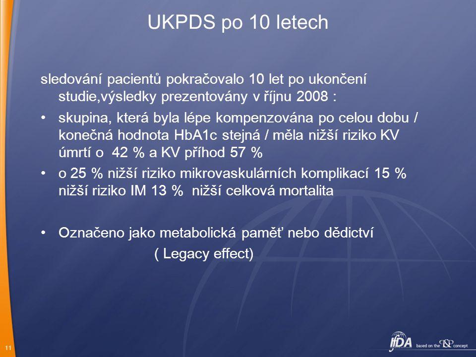 11 UKPDS po 10 letech sledování pacientů pokračovalo 10 let po ukončení studie,výsledky prezentovány v říjnu 2008 : skupina, která byla lépe kompenzov