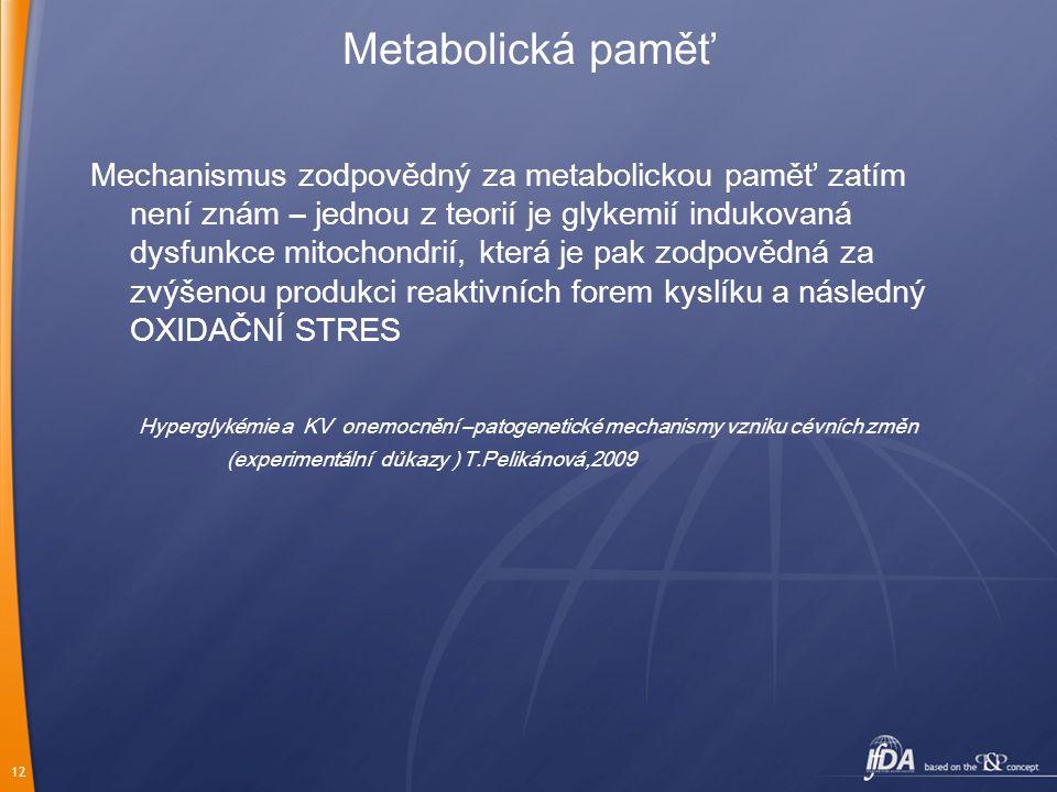 12 Metabolická paměť Mechanismus zodpovědný za metabolickou paměť zatím není znám – jednou z teorií je glykemií indukovaná dysfunkce mitochondrií, kte