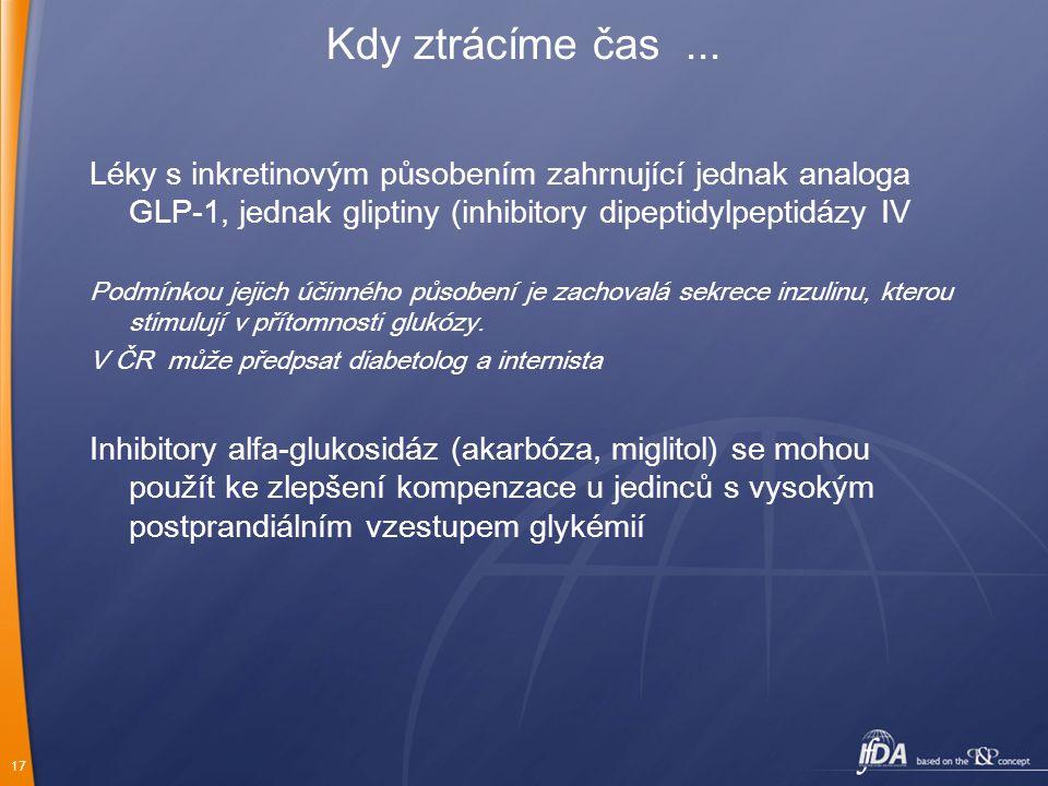 17 Kdy ztrácíme čas... Léky s inkretinovým působením zahrnující jednak analoga GLP-1, jednak gliptiny (inhibitory dipeptidylpeptidázy IV Podmínkou jej