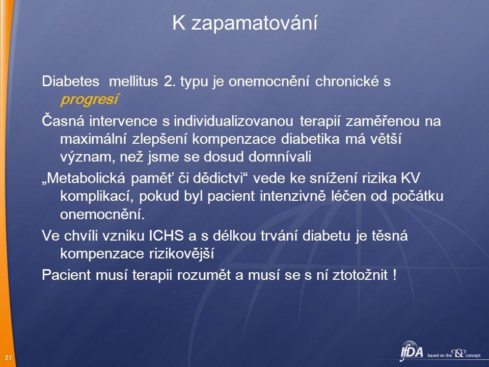 21 K zapamatování Diabetes mellitus 2. typu je onemocnění chronické s progresí Časná intervence s individualizovanou terapií zaměřenou na maximální zl