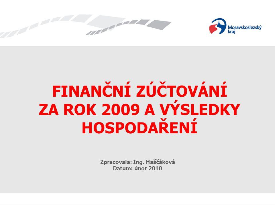FINANČNÍ ZÚČTOVÁNÍ A HV 2009 FINANČNÍ ZÚČTOVÁNÍ ZA ROK 2009 A VÝSLEDKY HOSPODAŘENÍ Zpracovala: Ing. Haščáková Datum: únor 2010