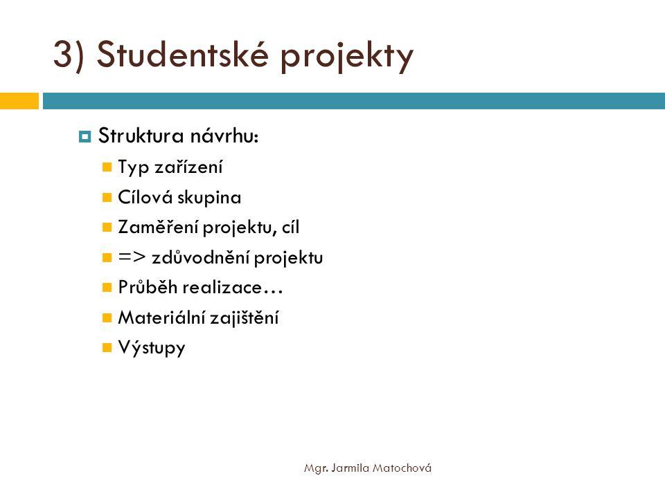 """3) Studentské projekty  Realizace projektů  Místo realizace dle vaší iniciativy prezentace v zařízení  Brno """"předdomluvené  Prezentace na semináři jako nácvik prezentace v zařízení Mgr."""