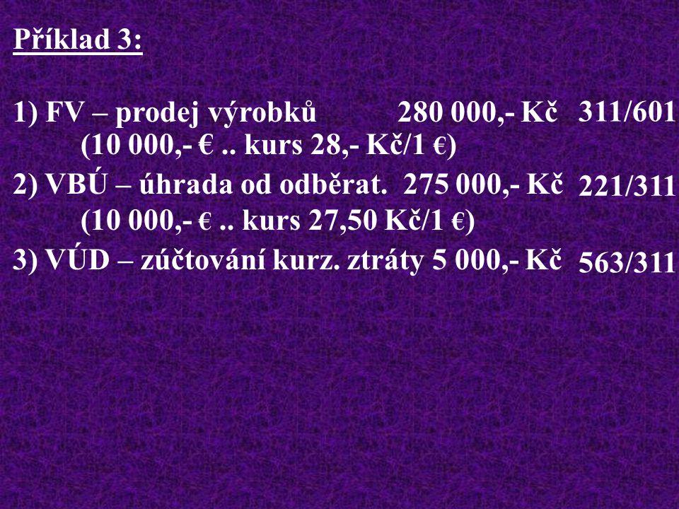 Příklad 3: 1) FV – prodej výrobků 280 000,- Kč (10 000,- €..