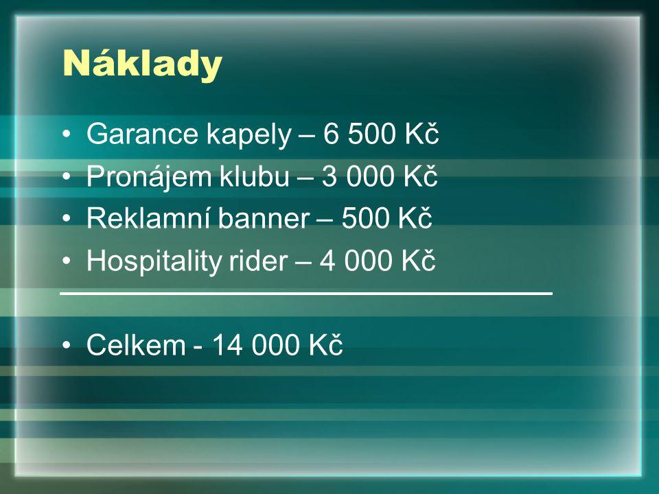 Náklady Garance kapely – 6 500 Kč Pronájem klubu – 3 000 Kč Reklamní banner – 500 Kč Hospitality rider – 4 000 Kč Celkem - 14 000 Kč