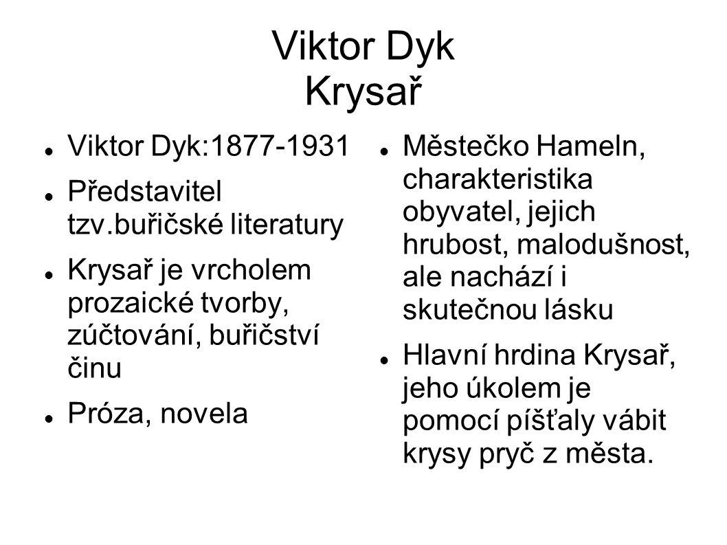 Stručná charakteristika děje Krysař, který nemá ani jméno, je z rodu vyděděnců svým povoláním.