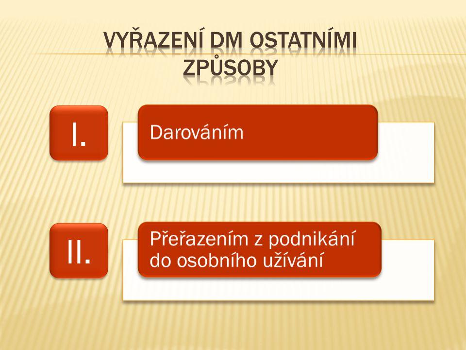 Darováním I. Přeřazením z podnikání do osobního užívání II.