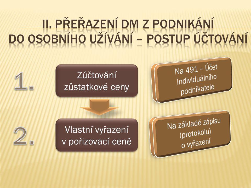 MDD 1.Zúčtování zůstatkové ceny491/07., 08.2.Vlastní vyřazení v pořizovací ceně07., 08./01., 02.