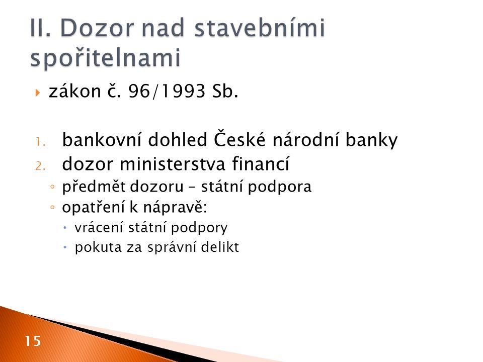  zákon č. 96/1993 Sb. 1. bankovní dohled České národní banky 2.