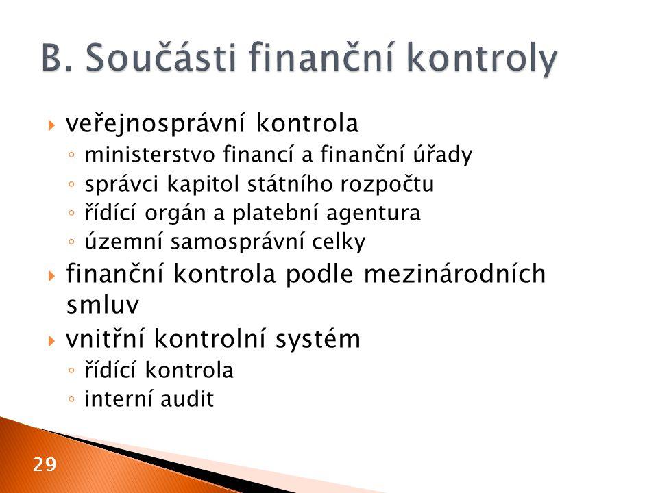  veřejnosprávní kontrola ◦ ministerstvo financí a finanční úřady ◦ správci kapitol státního rozpočtu ◦ řídící orgán a platební agentura ◦ územní samosprávní celky  finanční kontrola podle mezinárodních smluv  vnitřní kontrolní systém ◦ řídící kontrola ◦ interní audit 29