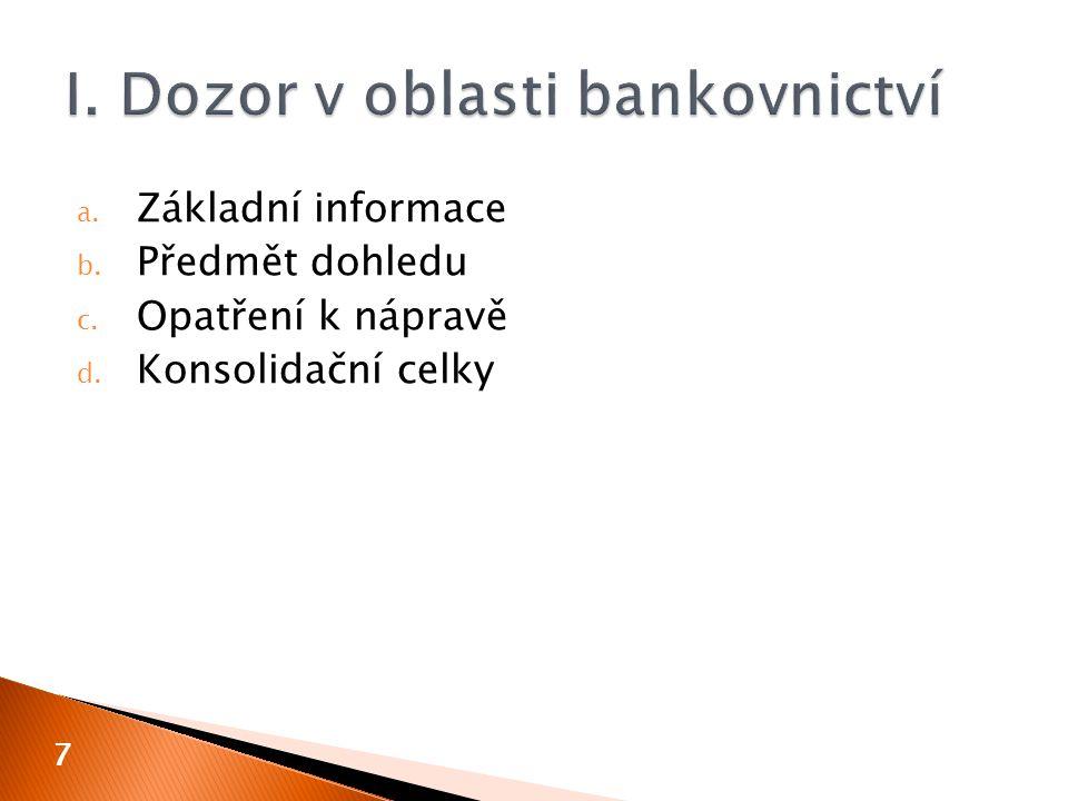  bankovní dohled České národní banky  zahrnuje dohled nad ◦ bankami ◦ spořitelními a úvěrními družstvy ◦ institucemi elektronických peněz ◦ vydavateli elektronických peněz malého rozsahu ◦ platebními institucemi ◦ poskytovateli platebních služeb malého rozsahu ◦ provozovateli platebních systémů s neodvolatelností zúčtování ◦ nad bezpečným fungováním bankovního systému 8
