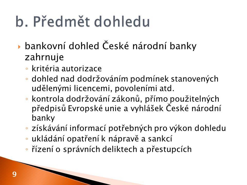  uložení opatření k nápravě  výměna osob  tvorba rezerv a opravných položek  snížení nebo zvýšení základního kapitálu  změna licence  mimořádný audit  zákaz nebo omezení provádění operací se spojenými osobami  zvýšení likvidních prostředků  nucená správa  odnětí bankovní licence 10