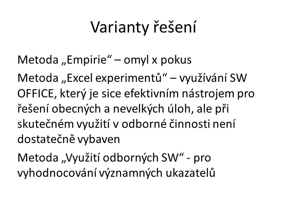 """Varianty řešení Metoda """"Empirie – omyl x pokus Metoda """"Excel experimentů – využívání SW OFFICE, který je sice efektivním nástrojem pro řešení obecných a nevelkých úloh, ale při skutečném využití v odborné činnosti není dostatečně vybaven Metoda """"Využití odborných SW - pro vyhodnocování významných ukazatelů"""