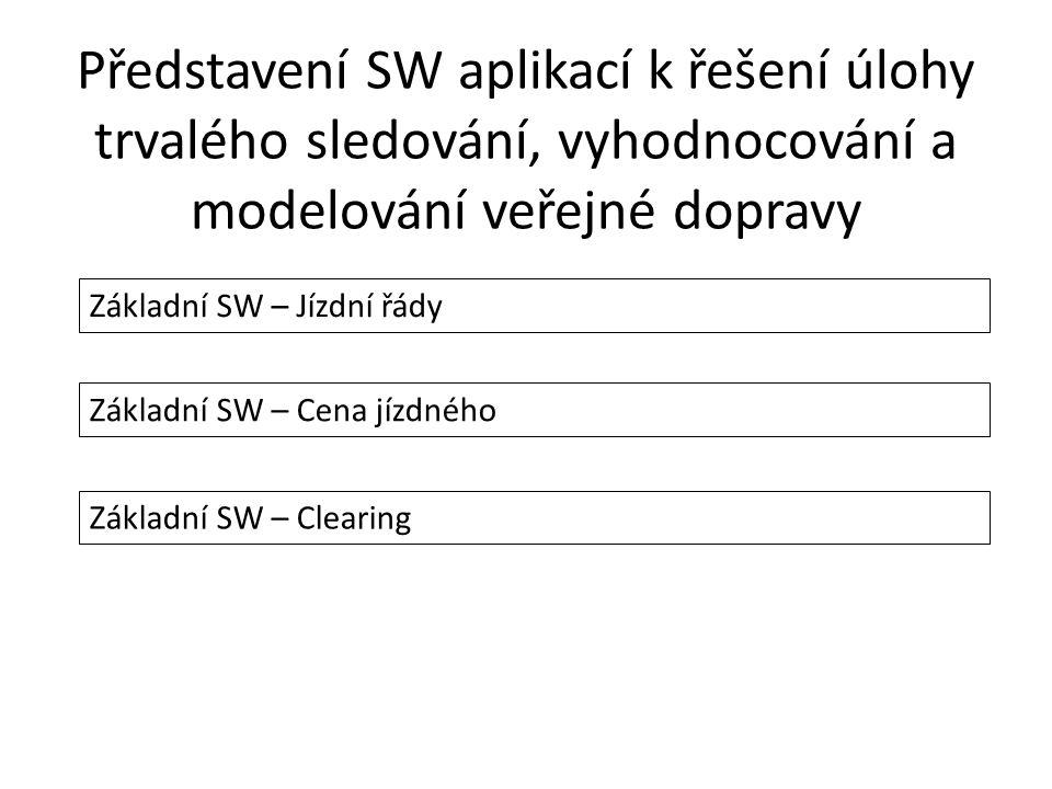 Představení SW aplikací k řešení úlohy trvalého sledování, vyhodnocování a modelování veřejné dopravy Základní SW – Jízdní řády Základní SW – Cena jízdného Základní SW – Clearing
