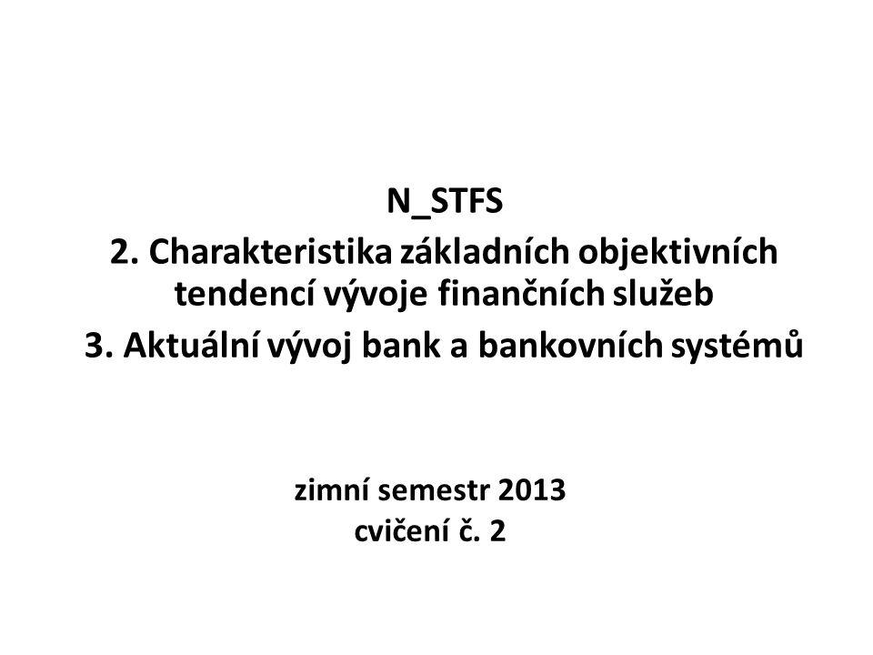 zimní semestr 2013 cvičení č. 2 N_STFS 2. Charakteristika základních objektivních tendencí vývoje finančních služeb 3. Aktuální vývoj bank a bankovníc