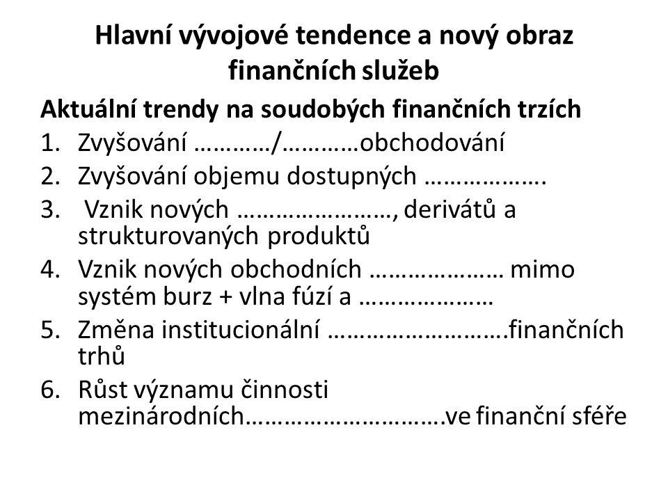 Hlavní vývojové tendence a nový obraz finančních služeb Aktuální trendy na soudobých finančních trzích 1.Zvyšování …………/…………obchodování 2.Zvyšování ob