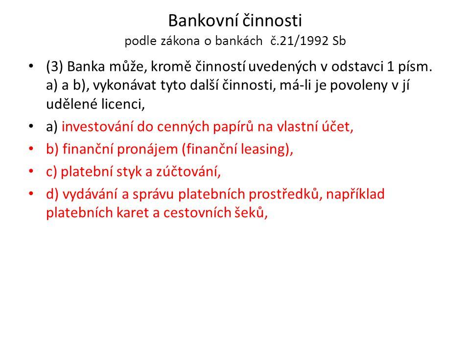 Bankovní činnosti podle zákona o bankách č.21/1992 Sb (3) Banka může, kromě činností uvedených v odstavci 1 písm. a) a b), vykonávat tyto další činnos