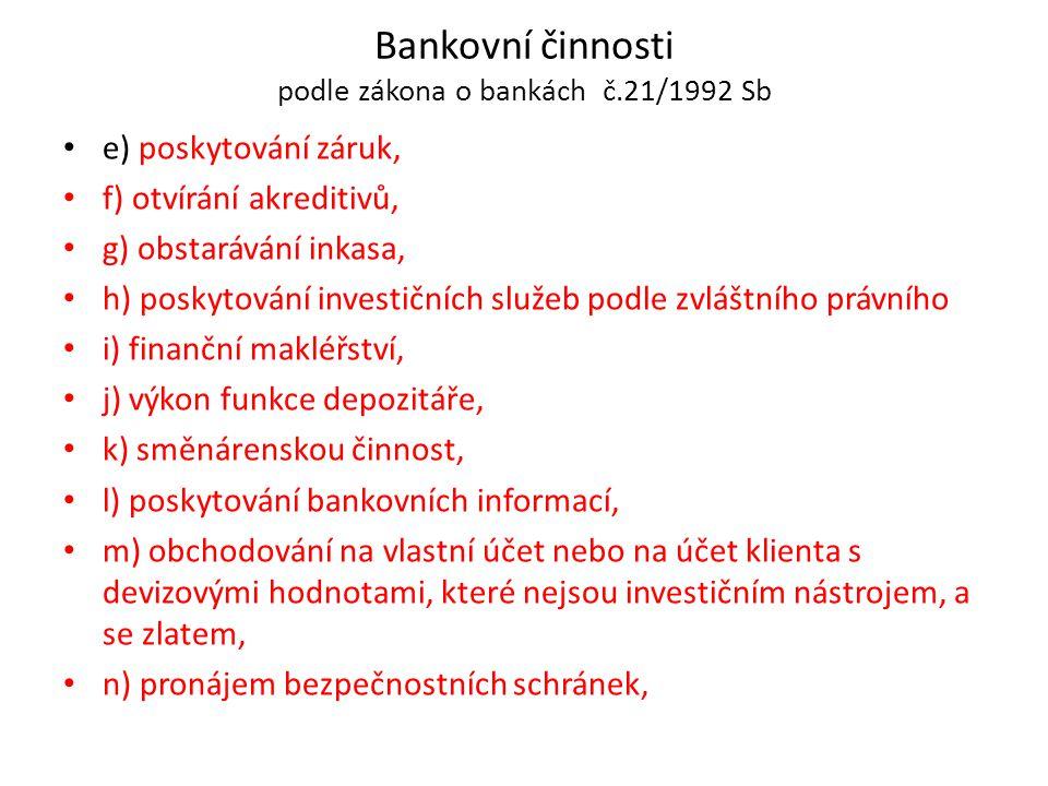 Bankovní činnosti podle zákona o bankách č.21/1992 Sb e) poskytování záruk, f) otvírání akreditivů, g) obstarávání inkasa, h) poskytování investičních