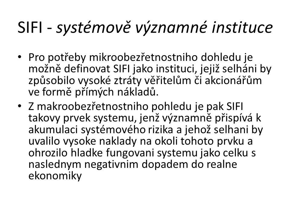 SIFI - systémově významné instituce Pro potřeby mikroobezřetnostniho dohledu je možně definovat SIFI jako instituci, jejiž selháni by způsobilo vysoké ztráty věřitelům či akcionářům ve formě přímých nákladů.