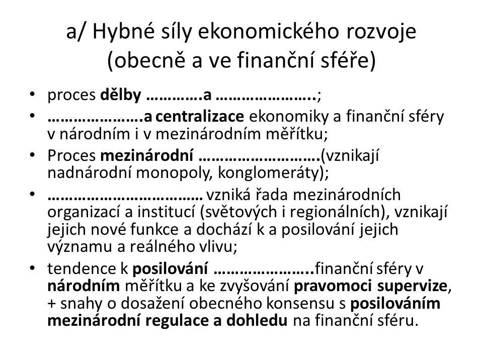 a/ Hybné síly ekonomického rozvoje (obecně a ve finanční sféře) proces dělby ………….a …………………..; ………………….a centralizace ekonomiky a finanční sféry v národním i v mezinárodním měřítku; Proces mezinárodní ……………………….(vznikají nadnárodní monopoly, konglomeráty); ……………………………… vzniká řada mezinárodních organizací a institucí (světových i regionálních), vznikají jejich nové funkce a dochází k a posilování jejich významu a reálného vlivu; tendence k posilování …………………..finanční sféry v národním měřítku a ke zvyšování pravomoci supervize, + snahy o dosažení obecného konsensu s posilováním mezinárodní regulace a dohledu na finanční sféru.