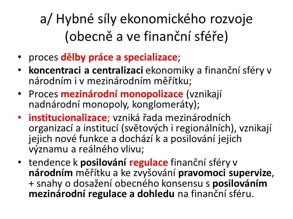 a/ Hybné síly ekonomického rozvoje (obecně a ve finanční sféře) proces dělby práce a specializace; koncentraci a centralizaci ekonomiky a finanční sfé
