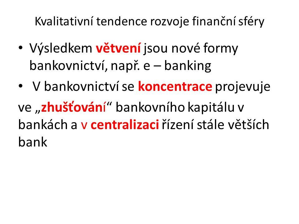Kvalitativní tendence rozvoje finanční sféry Výsledkem větvení jsou nové formy bankovnictví, např. e – banking V bankovnictví se koncentrace projevuje