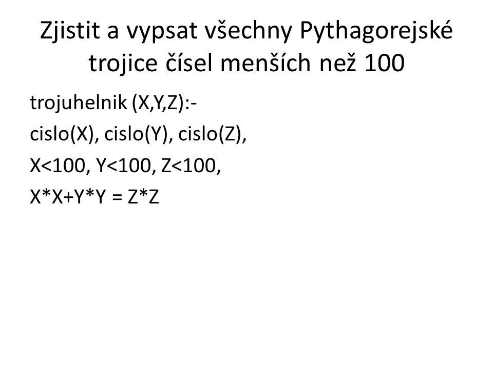 Zjistit a vypsat všechny Pythagorejské trojice čísel menších než 100 trojuhelnik (X,Y,Z):- cislo(X), cislo(Y), cislo(Z), X<100, Y<100, Z<100, X*X+Y*Y = Z*Z