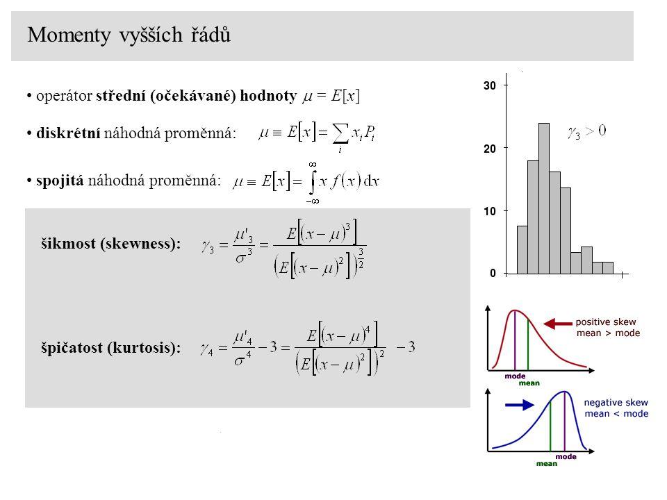 Momenty vyšších řádů operátor střední (očekávané) hodnoty  = E[x] diskrétní náhodná proměnná: šikmost (skewness): spojitá náhodná proměnná: špičatost