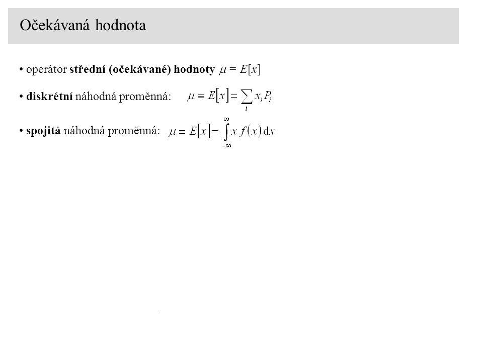 Očekávaná hodnota operátor střední (očekávané) hodnoty  = E[x] diskrétní náhodná proměnná: spojitá náhodná proměnná: