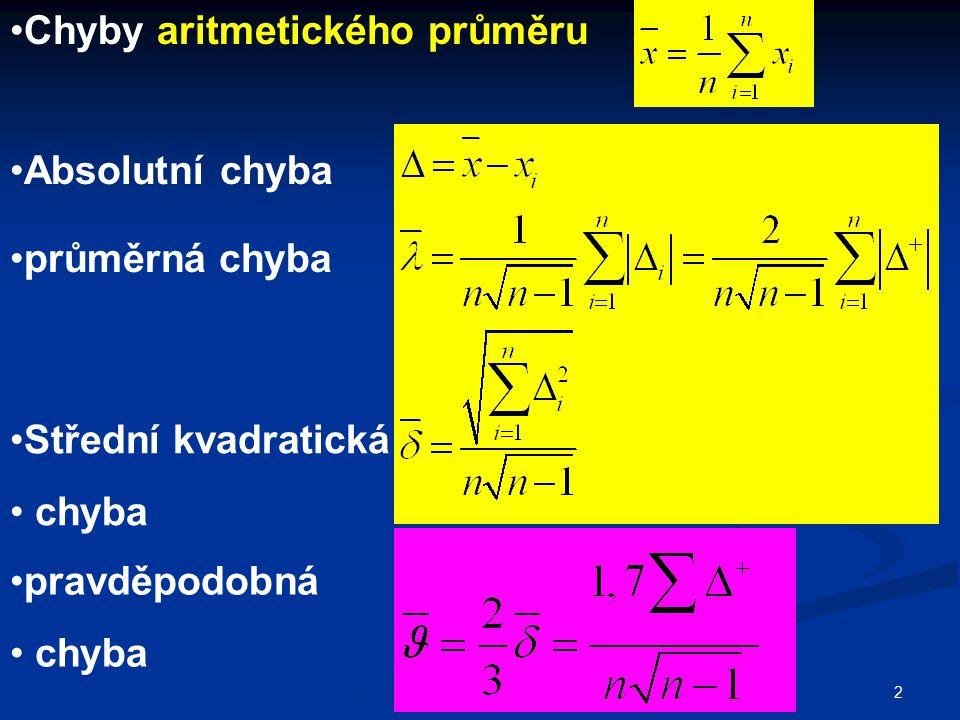 2 Chyby aritmetického průměru Absolutní chyba průměrná chyba Střední kvadratická chyba pravděpodobná chyba