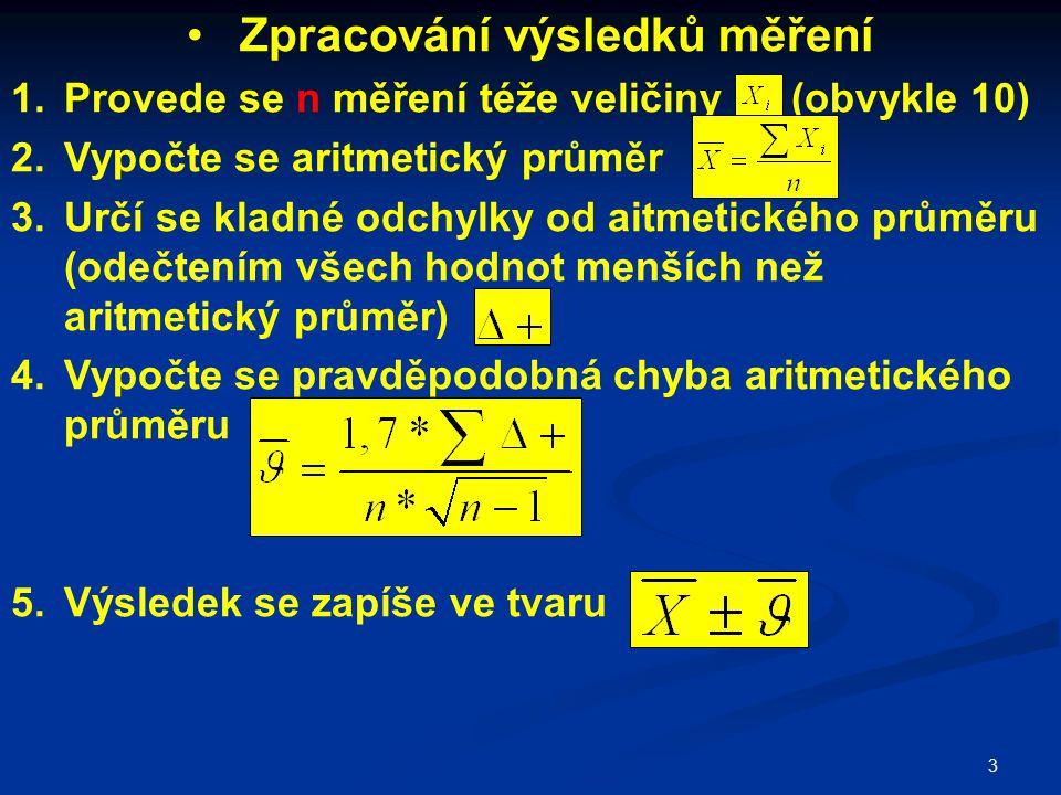 3 Zpracování výsledků měření 1.Provede se n měření téže veličiny (obvykle 10) 2.Vypočte se aritmetický průměr 3.Určí se kladné odchylky od aitmetickéh