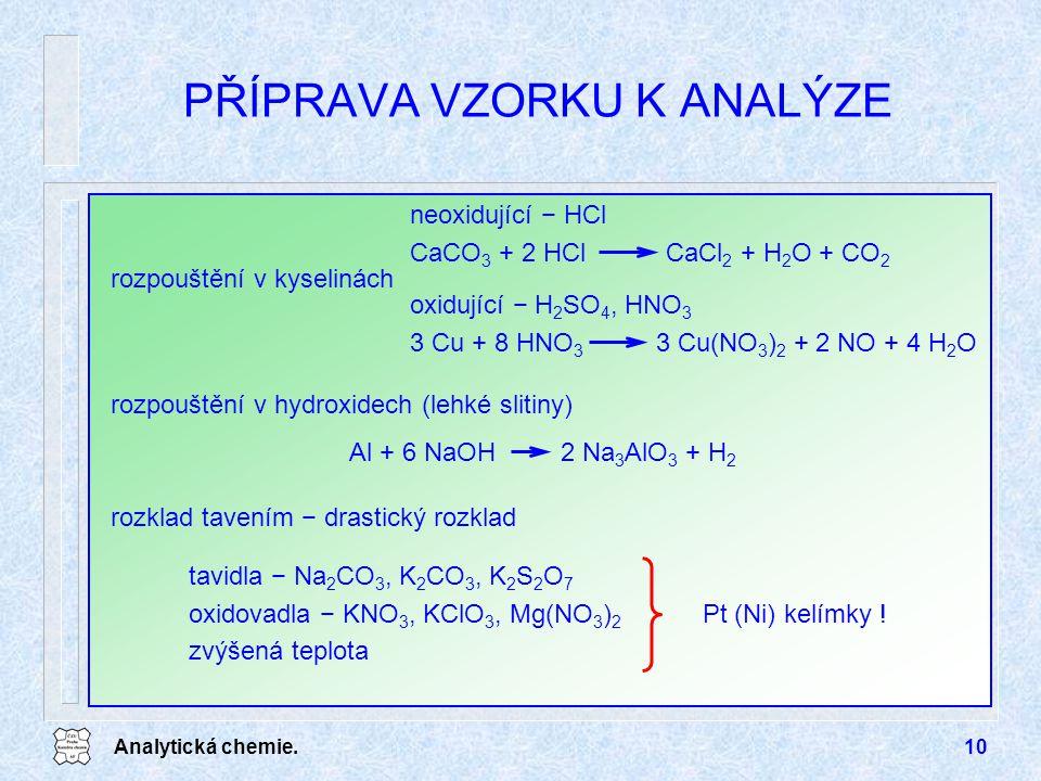 Analytická chemie.10 PŘÍPRAVA VZORKU K ANALÝZE rozpouštění v kyselinách oxidující − H 2 SO 4, HNO 3 3 Cu + 8 HNO 3 3 Cu(NO 3 ) 2 + 2 NO + 4 H 2 O neox