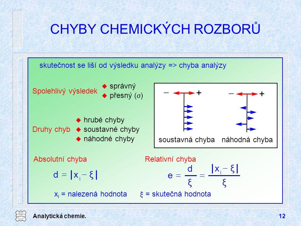 Analytická chemie.12 CHYBY CHEMICKÝCH ROZBORŮ skutečnost se liší od výsledku analýzy => chyba analýzy Spolehlivý výsledek u správný u přesný (  ) Dru