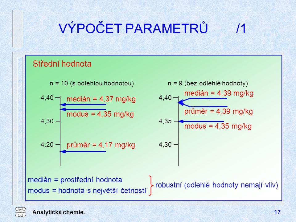 Analytická chemie.17 VÝPOČET PARAMETRŮ/1 Střední hodnota medián = 4,37 mg/kg průměr = 4,17 mg/kg modus = 4,35 mg/kg 4,20 4,30 4,40 n = 10 (s odlehlou