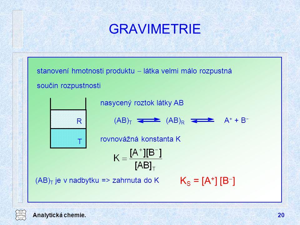 Analytická chemie.20 GRAVIMETRIE součin rozpustnosti K S = [A + ] [B  ] stanovení hmotnosti produktu  látka velmi málo rozpustná nasycený roztok lát